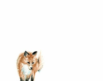 Fox Watercolor PRINT - Animal Print - Fox Painting - Woodland Animal Painting - Fox - Watercolor - Baby Room Decor - Baby - Home Decor
