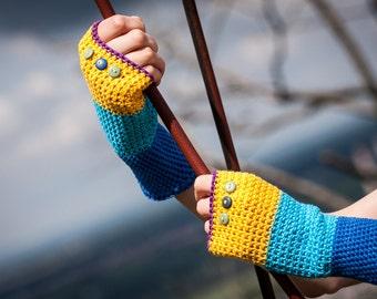 Blue Yellow Violet Fingerless Gloves / 100% Cotton Crochet Arm Warmers / Rainbow Striped Button Gloves / Fall Winter Accessories Gift Idea