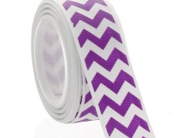 "7/8"" Purple Chevron ZigZag Grosgrain Ribbon - 5yds"
