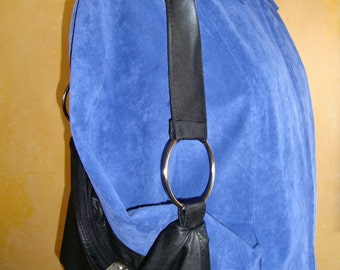Leather Purse Handmade from Upcycled Coat; Surprise Teal Lining