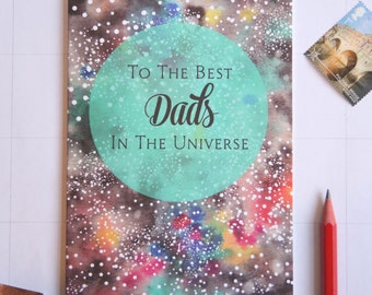 Gay Dads, Father's Day (or Any Day) Card with a Celestial Design - Same Sex Partners, LGBT, Family