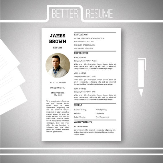 one page resume template cover letter template for microsoft word nr5 cv template - One Page Resume Templates
