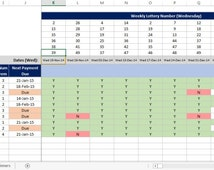 UK National Lottery, Lotto Bingo Syndicate for work, club or pub. Microsoft Excel Spreadsheet / Template
