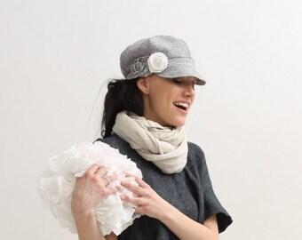 Womens newsboy hat cap Womens hat Womens linen cap Spring summer hat Womens accessories