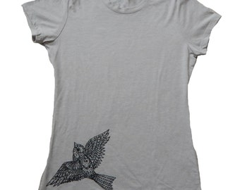 Sparrow T-Shirt, Womens Next Level T, Original Art, Screen Printed