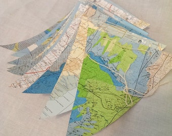 Recycled map bunting garland