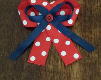 Red & White Polka Dot with Navy Bow