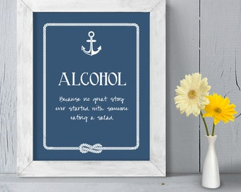Wedding Bar Sign DIY Printable // Nautical Wedding Sign // Anchor & Rope Infinity Knot // Alcohol Not Salad ▷ Instant Download