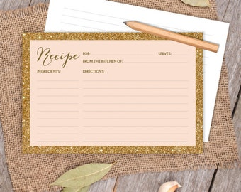 Gold Sparkle Glitter Card // Gold and Coral Peach 4x6 Recipe Card DIY // Bridal Shower Card, Kitchen Shower Printable PDF ▷ Instant Download