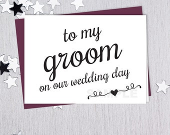 To My Groom // On Our Wedding Day Note Card DIY // Elegant Calligraphy Printable PDF // Classic Elegance ▷ Instant Download