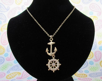 Anchor Necklace With Anchor And Anchor Wheel, Gold Tone Rhinestone, Open Link Long Chain, With Extender For Extra Length,