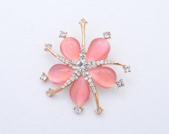 Peach Bridal Brooch Peach Wedding Brooch Rhinestone Peach Brooch Crystal Peach Brooch Wedding Accessories
