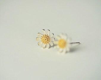 925 Sterling Silver Earrings—— Little Daisy Earrings 8.5mm x 8.5mm,Silver Flower Earring Studs
