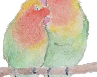 Nursery wall art, bird wall art, watercolor birds, watercolor parrots, birds in love, nursery watercolor, two birds art, 8 x 10.