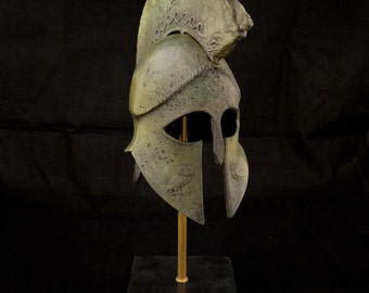 Helmet with Nike Victory lambrequin and Owl carvings half size Marble based
