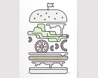 Burger - A3 Screen Print - Minimal Silkscreen Poster