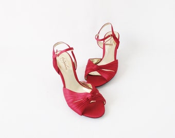 "Red Pumps - Size 8 M Metephor ""Heaven"" Red Low Heeled Pumps - Red Fabric High Heels with Composition Leather Sole - Like New Red High Heels"