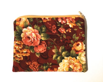 Red Floral Print Zippered Pouch