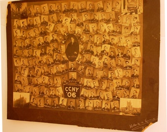 1906 Sepia Toned  Photo Montage of the  Graduating Class of NYC CCNY College!!