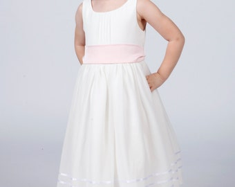 Beautiful White Flowergirl Dress with Pale Pink Sash
