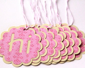 20 Gift Tags - Hi | Hello | Pink | Yellow | Baby Shower | Bridal Shower | Birthday | Party Favor
