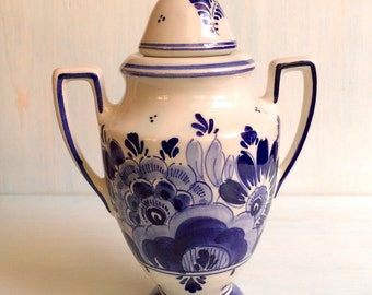 Vintage Delft Urn, Made in Holland, OUD