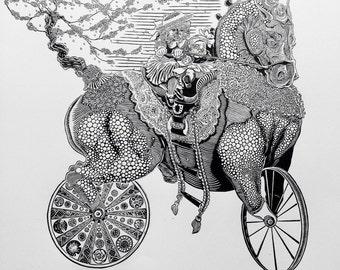 The Dandy Horse - Linocut