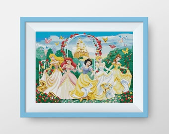 BUY 2, GET 1 FREE! Disney Princesses cross stitch pattern, Instant Download, P050