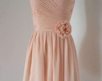 2015 Sweetheart Light Peach Chiffon Short Bridesmaid Dress with Flower