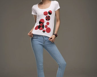Circles on White T-Shirt