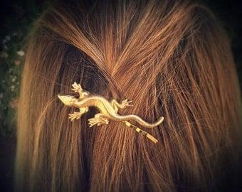 Lizard Bobby Pin Gold Lizard Hair Pin Animal Hair Clip Nature Accesories