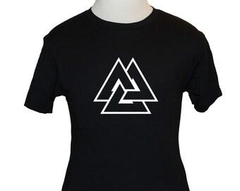 Asatru Valknut T-Shirt - American Apparel, Canvas or Gildan - Black (S M L XL) - Hrungnirs Heart, Odins Knot