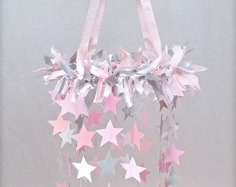 Pink, White, and Gray Star Crib Mobile