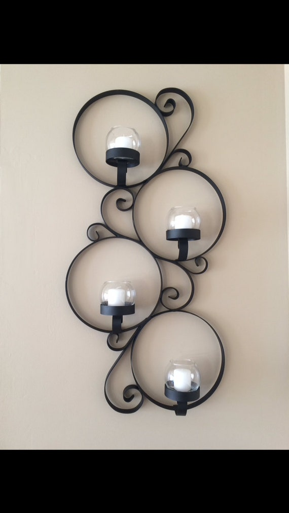 Metal Wall Decor Candle Holder : Items similar to metal scroll wall decor votive candle