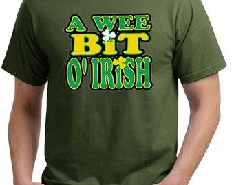 St Patrick's Day Men's Shirt A Wee Bit Irish Organic Tee T-Shirt A10000-PC50ORG