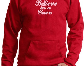 Breast Cancer Awareness Men's Hoodie Believe in a Cure  Hoody CURE-PC90H