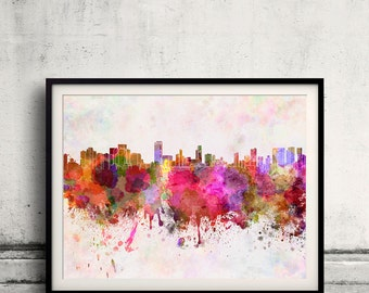 Honolulu skyline in watercolor background 8x10 in to 12x16 Poster Digital Wall art Illustration Print Art Decorative  - SKU 0140