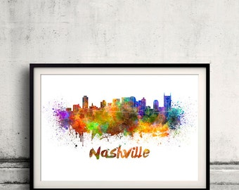 Nashville skyline in watercolor over white background with name of city 8x10 in. to 12x16 in. Poster Wall art Illustration Print  - SKU 0238