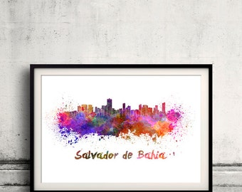 Salvador de Bahia skyline in watercolor over white background with name of city 8x10 in. to 12x16 in. Poster Illustration Print  - SKU 0241