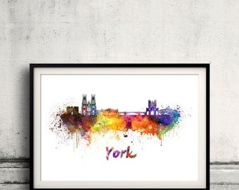 York skyline in watercolor over white background with name of city 8x10 in. to 12x16 in. Poster Wall art Illustration Print  - SKU 0375