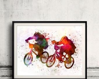 BMX race 8x10 in. to 12x16 in. Poster Digital Wall art Illustration Print Art Decorative  - SKU 0485
