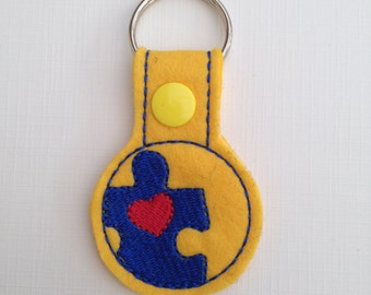 Jigsaw Keyring Zip Pull Key Fob