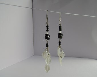Black Glass Bead and White Leaf Charms Earrings