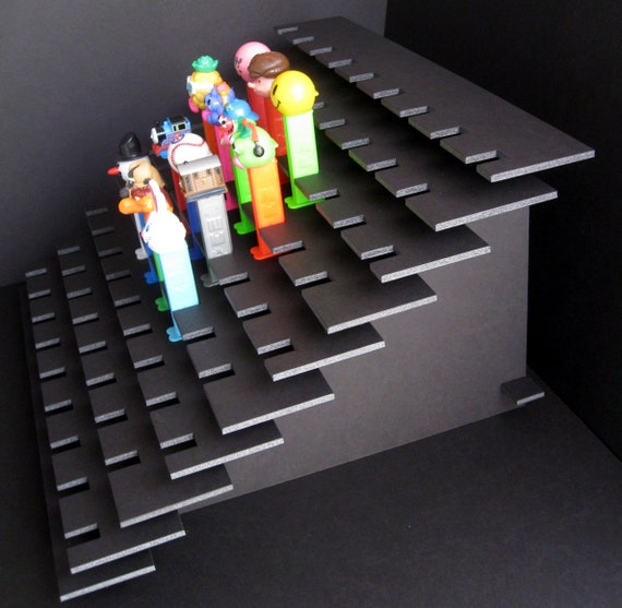 81 PEZ Display Shelf Stadium Style - Holds 81 Dispensers - Black or White