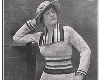 "1910s WWI ""The Allies"" Sweater -- Instant Download PDF -- Knitting E-pattern"