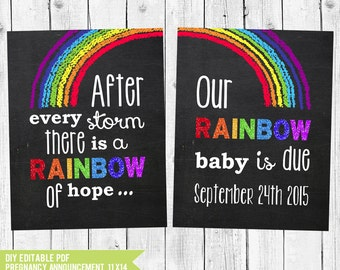 Rainbow Baby Pregnancy Announcement Chalkboard, Pregnancy Reveal after a loss, Rainbow Baby Photo Prop, PDF you edit with ADOBE READER