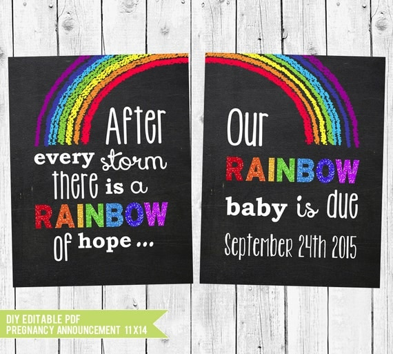 Printable Rainbow Baby Pregnancy Announcement Chalkboard Signs