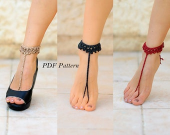 PDF CROCHET PATTERN #4,  instant download, Barefoot sandals, bridal sandals