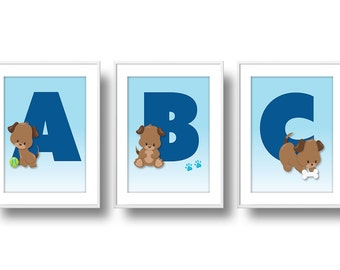 Puppies Nursery, Boy ABC Nursery Wall Art, Puppy Dog Nursery Decor