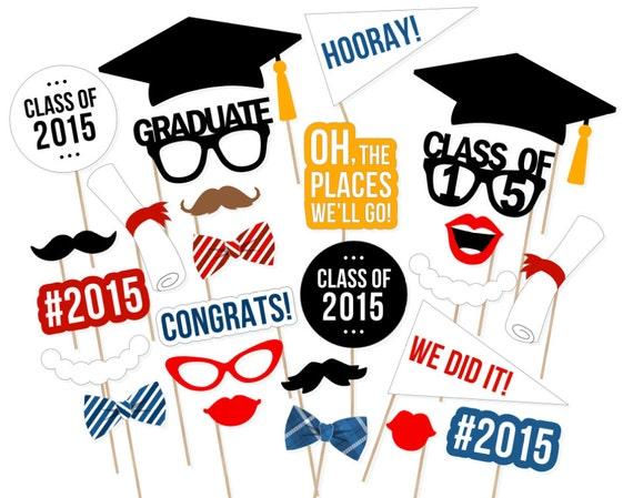 ... Booth Props - 2015 Graduation Photobooth - Printable Graduation Props